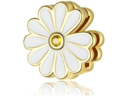 8509 strieborna koralka styl pandora reflections zlato biela margaretka