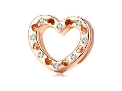 8512 strieborna koralka styl pandora reflections ruzovo zlate srdce