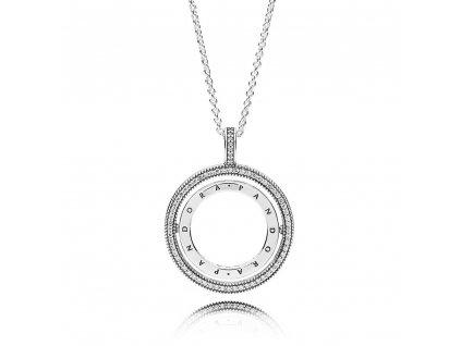Strieborný náhrdelník štýl Pandora dvojitý kruh s nápisom