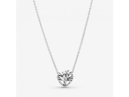 Strieborný náhrdelník štýl Pandora srdiečkový strom života