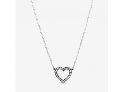 Strieborný náhrdelník štýl Pandora zirkónové srdce
