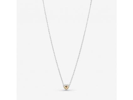 Strieborný náhrdelník štýl Pandora zlaté srdiečko