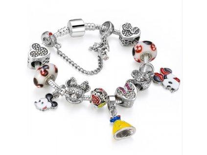Detský dievčenský náramok štýl Pandora s Minnie a šatami snehulienky