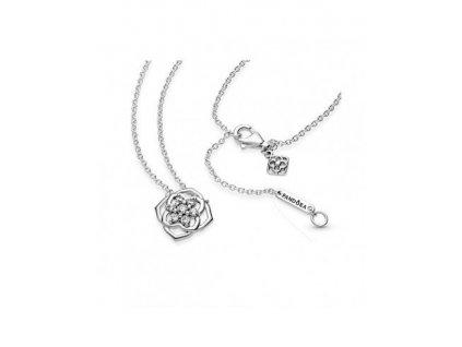 Strieborný náhrdelník štýl Pandora zirkónový kvietok1