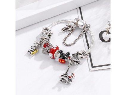 Detský dievčenský náramok štýl Pandora s Mickey a Eifelovou vežou