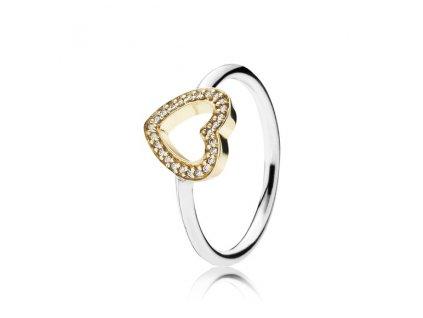Strieborný prsteň štýl Pandora so zlatým zirkónovým srdiečkom