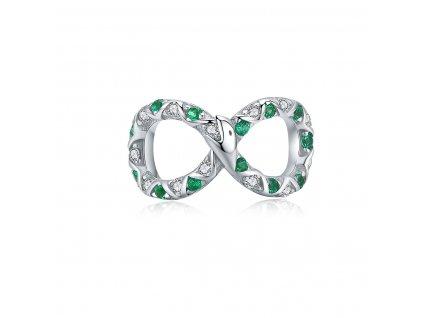 Strieborná korálka štýl Pandora nekonečno had so zelenými zirkónmi