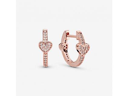 Dámske strieborné náušnice štýl Pandora ružovo zlaté so srdiečkom