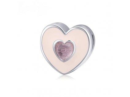 Strieborná korálka štýl Pandora Reflexions ružové srdce s ružovým zirkónom 1