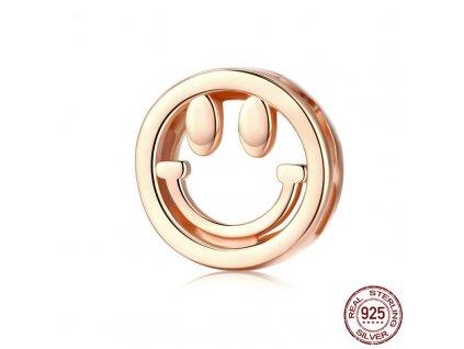 Strieborná korálka štýl Pandora Reflexions ružovo zlatá smajlík