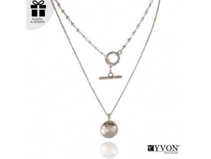 Dámsky náhrdelník štýl GLAMOUR dvojitý s paličkou a kruhom
