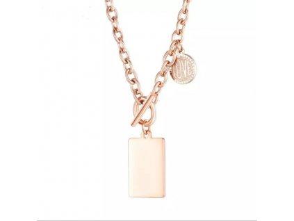 Dámsky dvojitý náhrdelník z chirurgickej ocele príveskom ružovozlatej farby