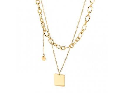 Dámsky dvojitý náhrdelník z chirurgickej ocele s jednoduchým príveskom
