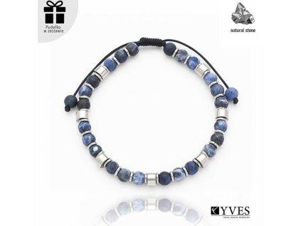 Pánsky náramok s prírodnými kameňmi modrej farby