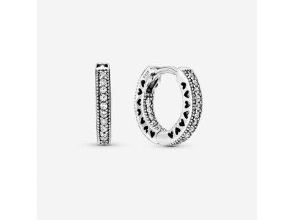 Dámske strieborné náušnice štýl Pandora jemné zirkónové kruhy so srdiečkami