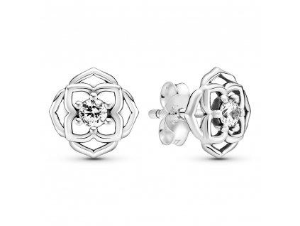 Dámske strieborné náušnice štýl Pandora lupene ruže