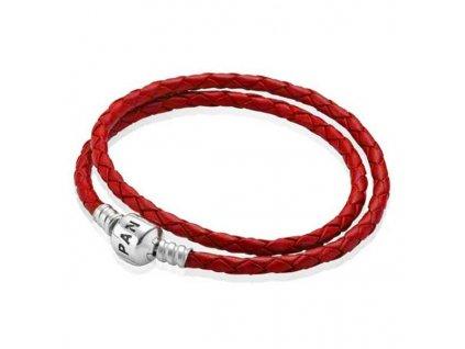 Dámsky červený kožený náramok štýl Pandora na klip v tvare valca