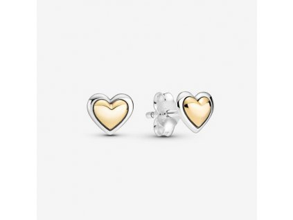 Dámske strieborné náušnice štýl Pandora so zlatým srdiečkom