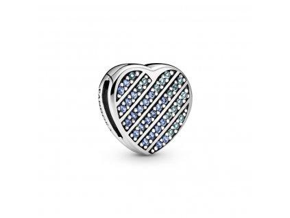 Strieborná korálka štýl Pandora reflexions modré zirkónové srdce