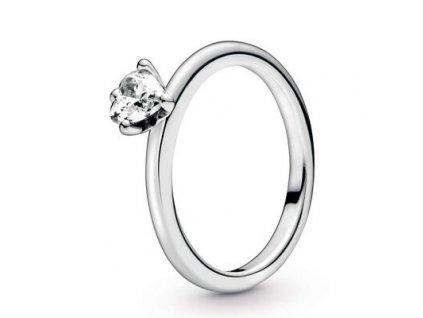 Dámsky strieborný prsteň štýl Pandora zásnubný srdce v korunke