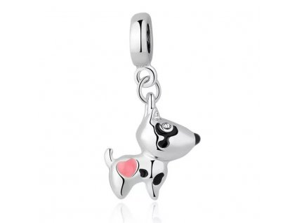 Strieborná korálka prívesok štýl Pandora psík s ružovým srdiečkom