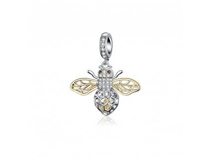Strieborná korálka prívesok štýl Pandora včielka so zlatými krídlami