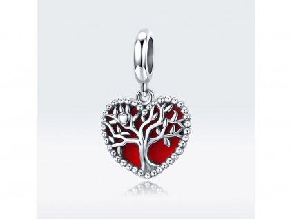 Strieborná korálka prívesok štýl Pandora červené srdce FAMILY FOREVER