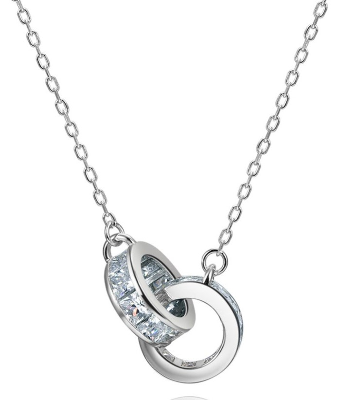 ORSA-JEWELS-100-Real-925-Woman-Twice-Round-Pendants-Necklaces-Sterling-Silver-Double-AAA-CZ-Stylish