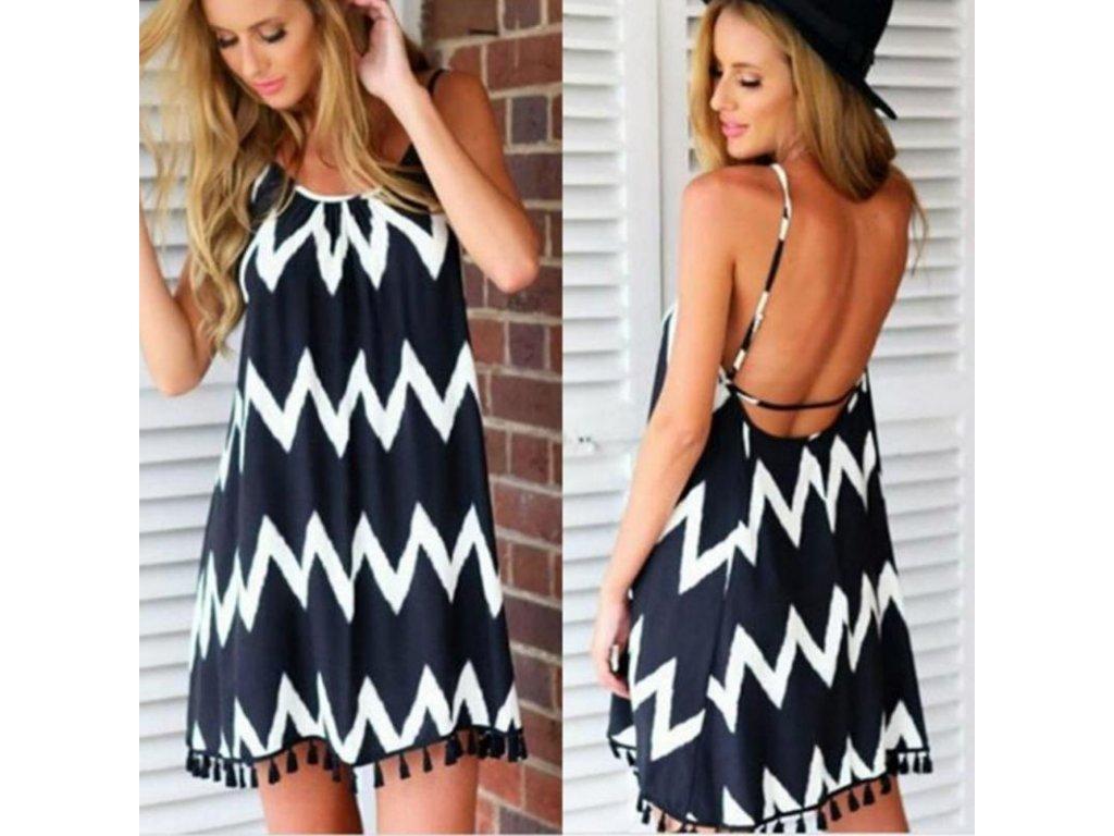 Ležérne voľné sexy šaty - čierno biele