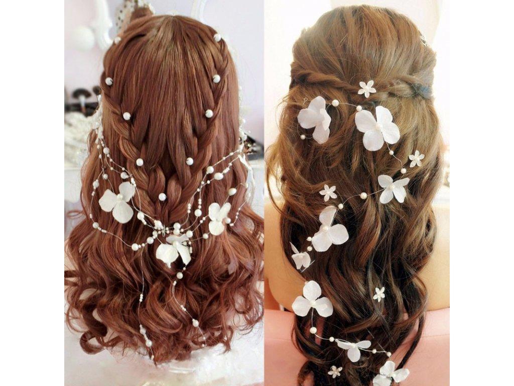 b084b47b2b7 Svatební ozdoba do vlasů KVĚTY S PERLAMI - bílá - Bižuterie TOP CZ