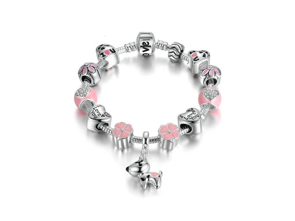 Dámský náramek s přívěskem PES - růžový stříbrný - Bižuterie TOP CZ 267c41f5846