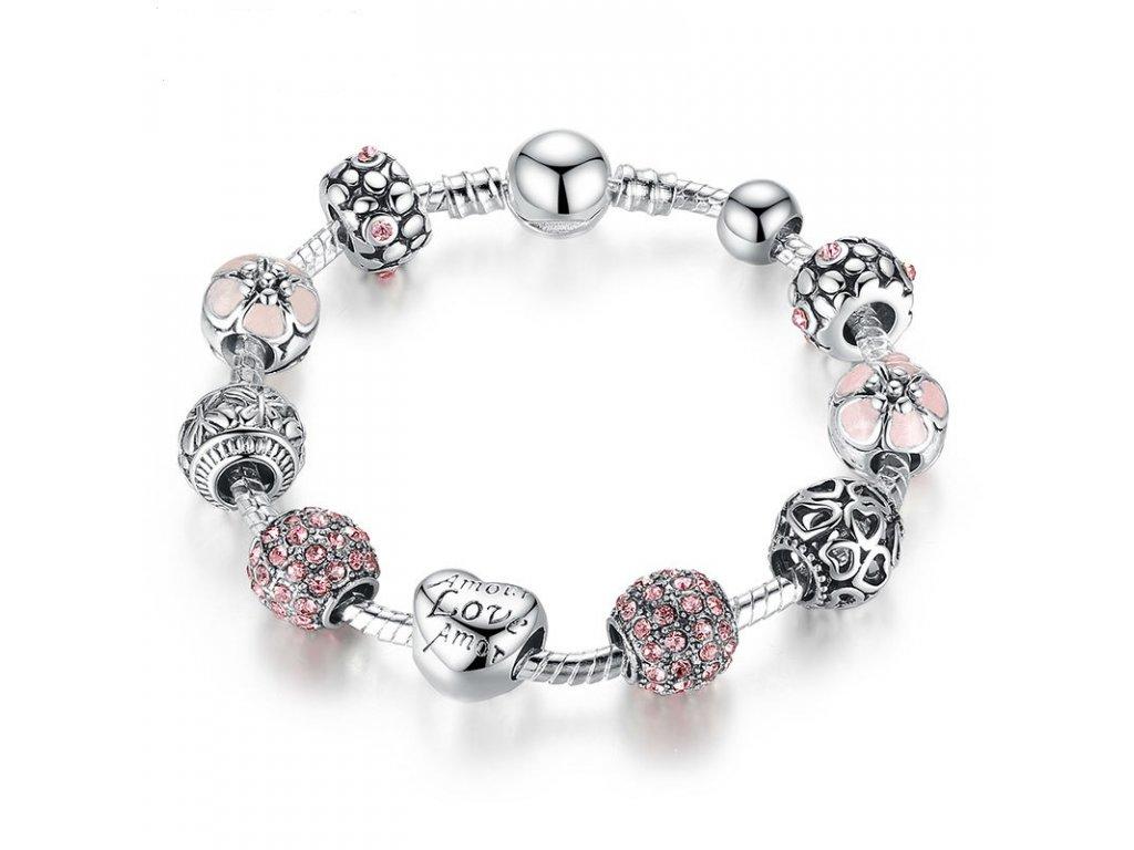 Dámský náramek s korálky PINK CRYSTAL - stříbrný - Bižuterie TOP CZ f8ece2926c8