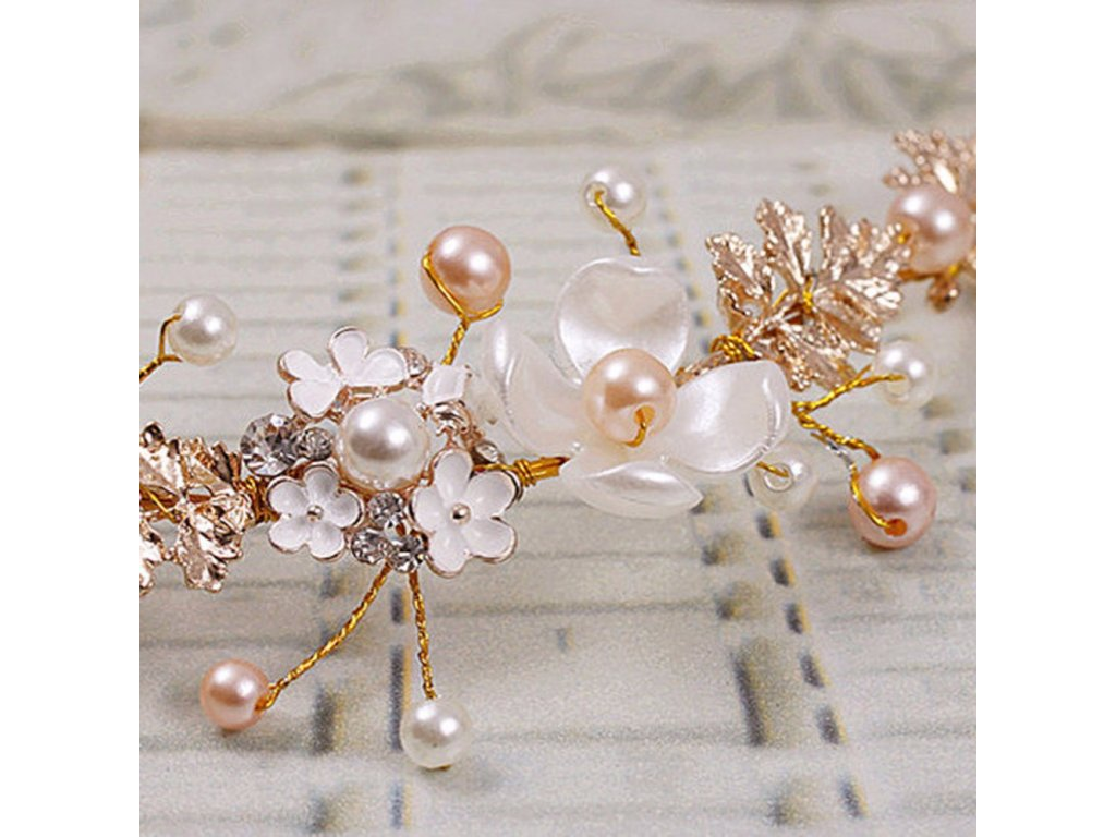6fec4bd8766 Svatební ozdoba do vlasů KVĚTY S PERLAMI - bílá zlatá růžová ...