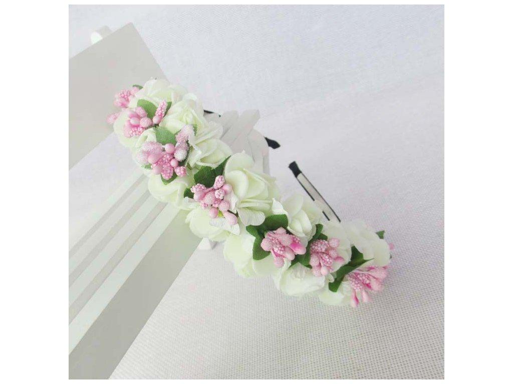 3139f2a64da BOHO květinová čelenka do vlasů - bílá růžová - Bižuterie TOP CZ