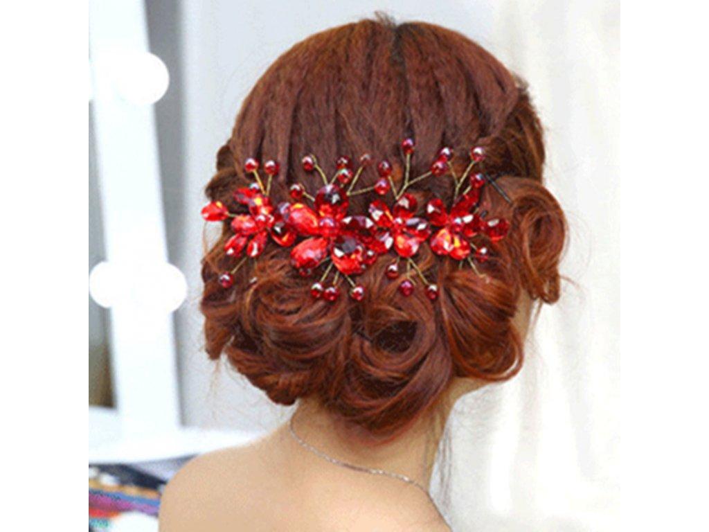 1491540c488 Ozdoba do vlasů KVĚT S KAMÍNKY - červená - Bižuterie TOP CZ