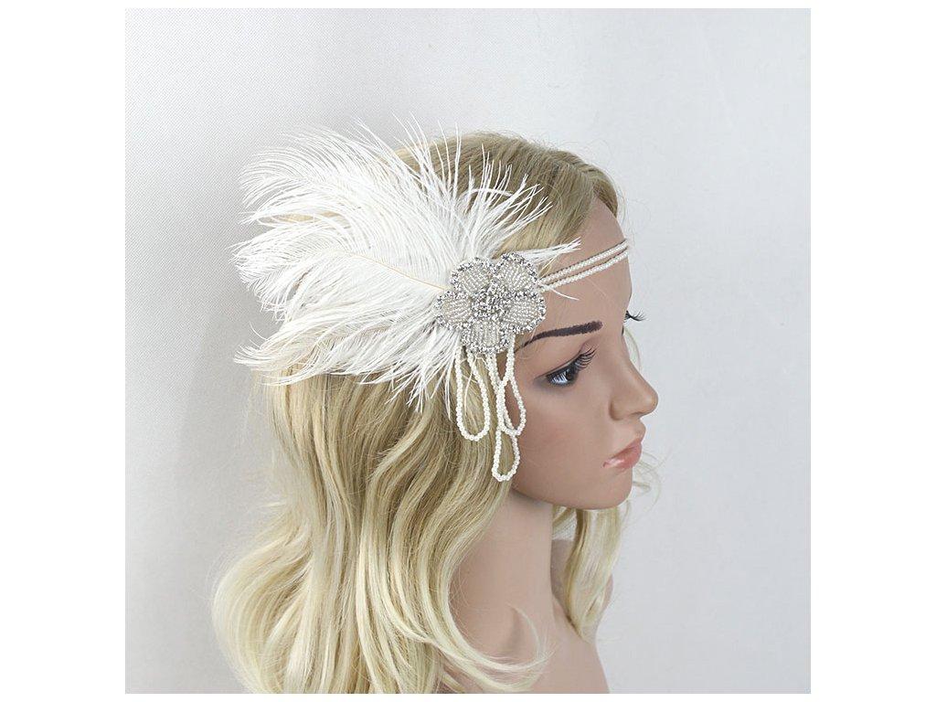 4c30af0b70c Luxusní čelenka do vlasů s kamínky a peřím ve VINTAGE stylu - bílá ...