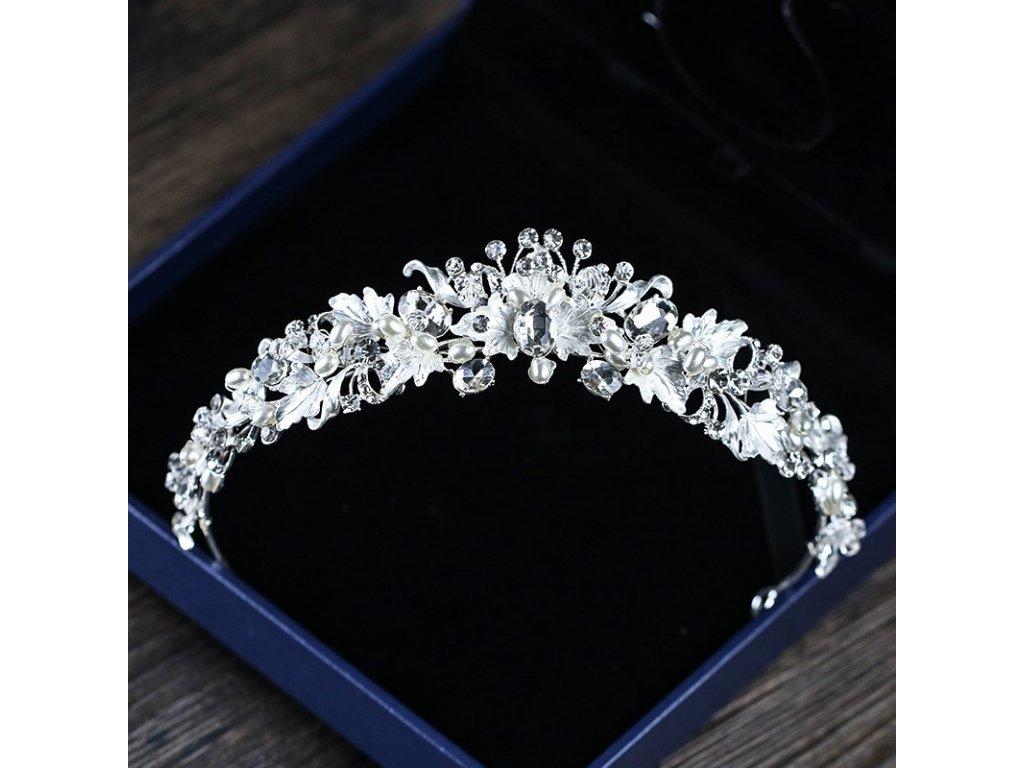 Luxusní svatební korunka Pearl Flower - stříbrná - Bižuterie TOP CZ 0adf28d84e