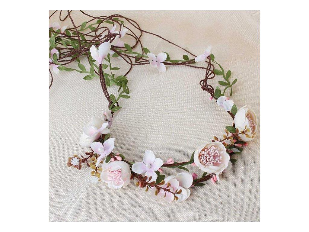 Svatební květinová čelenka do vlasů Flower Beach - smetanová ... 9d5d8dd765
