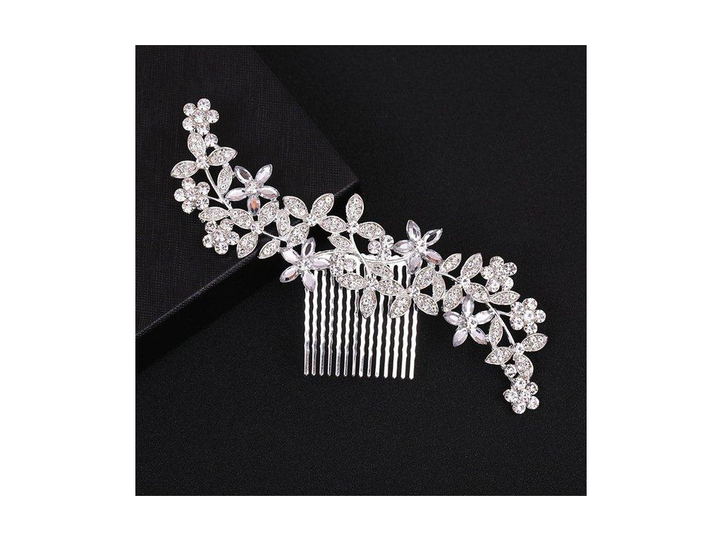 Svatební květinový hřeben do vlasů - postříbřený - Bižuterie TOP CZ e731f306b0