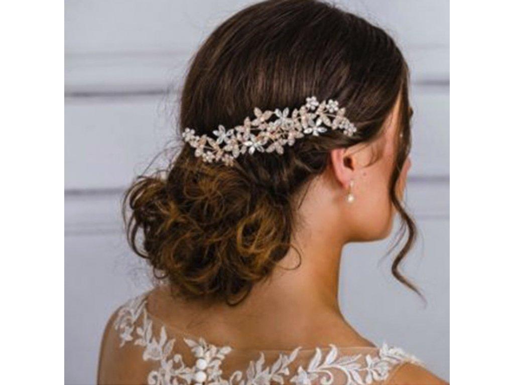 aa852b0ac42 Svatební květinový hřeben do vlasů - zlatá růžová - Bižuterie TOP CZ