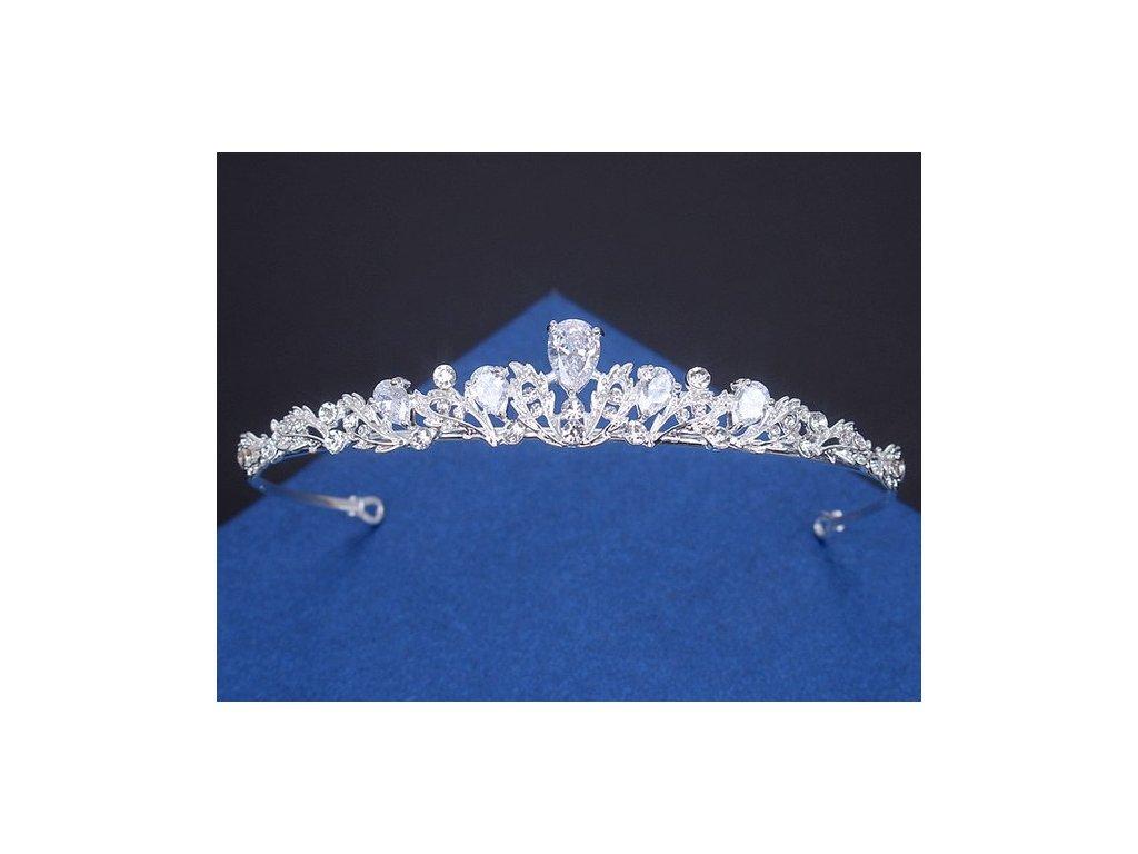Luxusní svatební korunka ZIRKONIA - postříbřená - Bižuterie TOP CZ d5a4535cb2