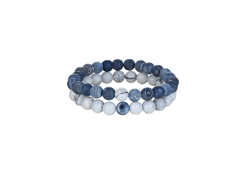 Korálkový náramek Yin Yang - bílý modrý - Bižuterie TOP CZ e422bba91a