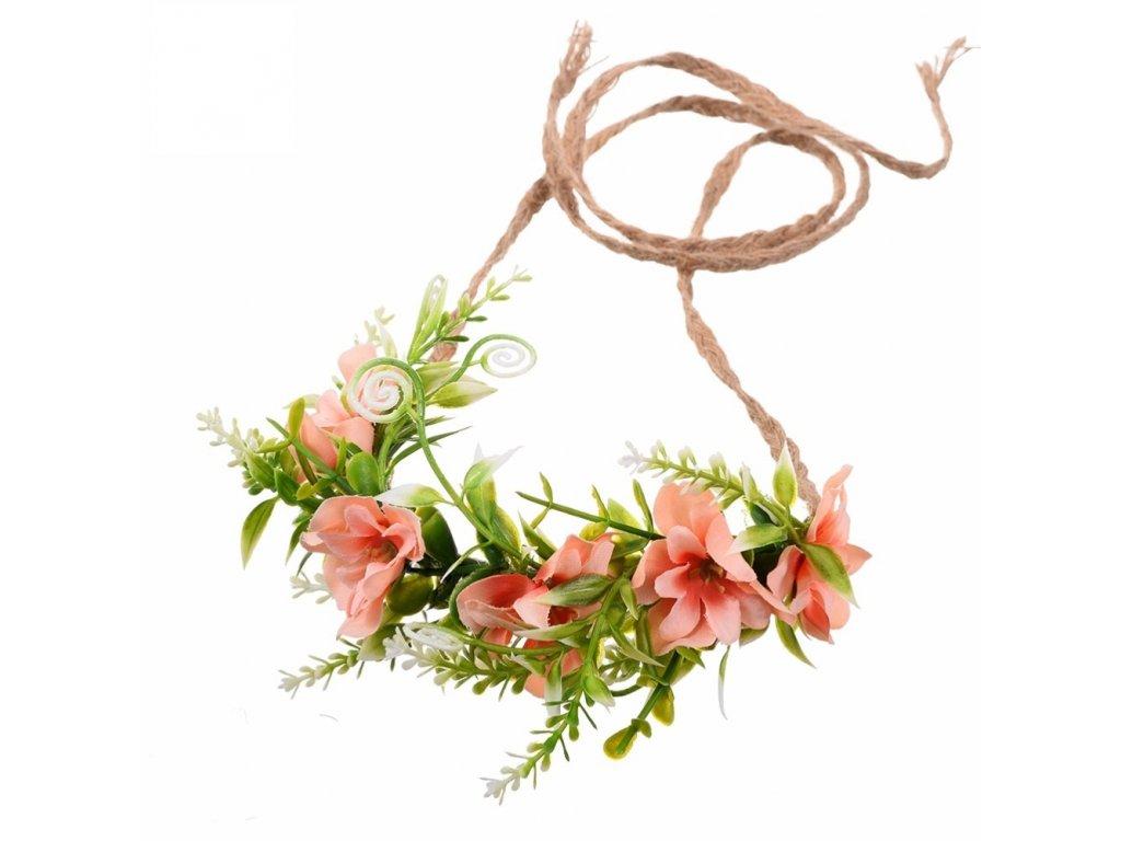 23a833ade83 BOHO květinová čelenka do vlasů - oranžová - Bižuterie TOP CZ