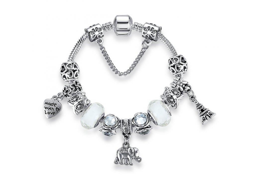 Dámský náramek s přívěskem SLON - stříbrná bílá - Bižuterie TOP CZ 4f4dae2dd27