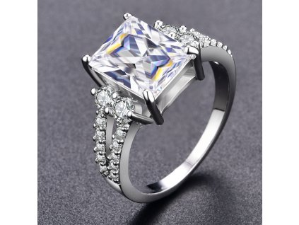 Dámský prsten CRYSTAL STONE - bílé pozlacení (Velikost prstenu 59,5mm)