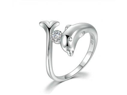 Dámský prsten DELFÍN - bílé pozlacení