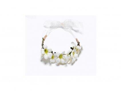 Dámská čelenka do vlasů s bílými květy