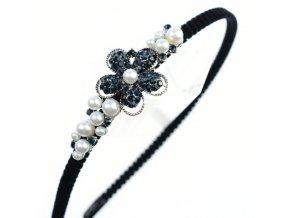 Módní čelenka do vlasů posetá kamínky a perlami ve tvaru květu. 4afbbeba63