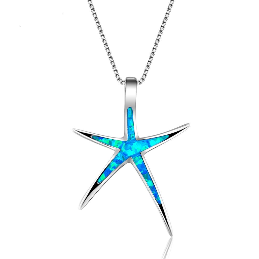 B-TOP Dámský náhrdelník HVĚZDICE s modrým OPÁLEM - postříbřený