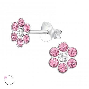For Silver NÁUŠNICE Dětské Květ s Swarovski® krystaly - STŘÍBRO 925, PUZETOVÉ
